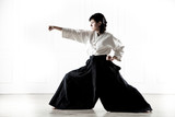 beautiful woman wearing a hakama engaged in kung Fu 4