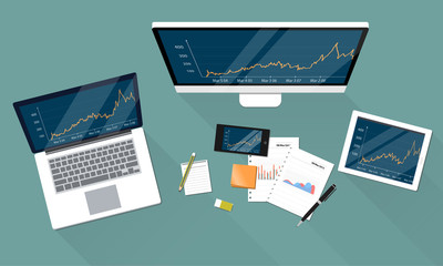 business financial and report graph on electronic device