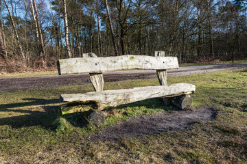 Simple wooden bench made of logs
