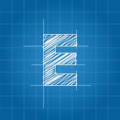 E letter architectural plan