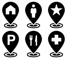 Objects on map icons set