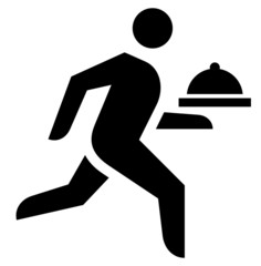 Waiter with dish icon