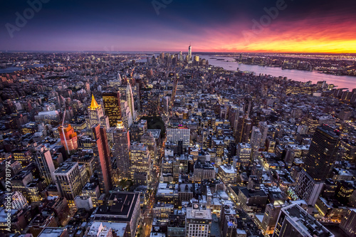 Spoed canvasdoek 2cm dik Luchtfoto Top view of New York City