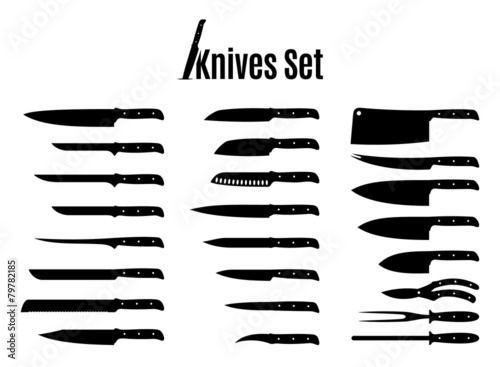 Vector Knives Set Isolated on White - 79782185