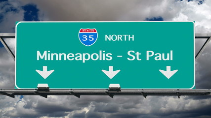 Minneapolis St Paul Interstate Freeway Sign Time Lapse