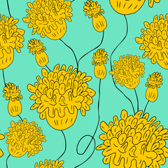 Decorative yellow flowers on mint background, floral seamless pa