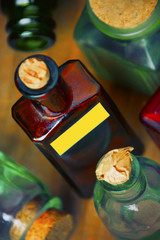 Coloured glass pharm bottles