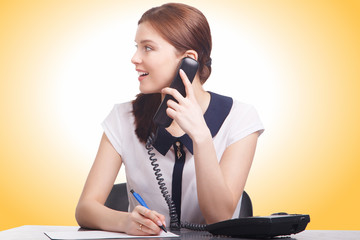 Portrait of happy smiling cheerful young support phone operator
