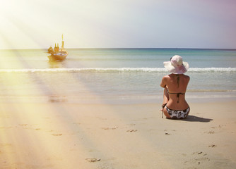 Girl on the beach of Phuket island, Thailand