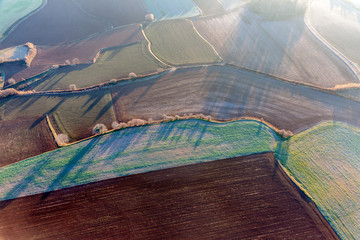 Aerial view of agricultural fields in La Garrotxa, Catalonia