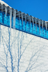 The icicles which are hanging down from the rooftop.