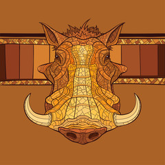 Decorative warthog head. Vector illustration