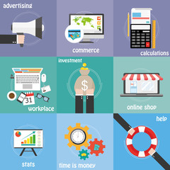 Color icons commerce, money, calculations and statistics