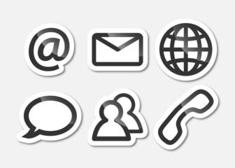 Kommunikation - Symbol Aufkleber - Konturen in Dunkelgrau