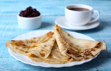 Breakfast pancakes with cherry jam