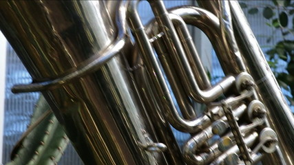 Close up of wind instrument.