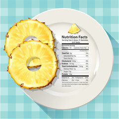 Vector of Nutrition facts in pineapple