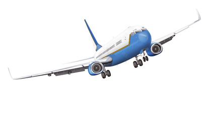 Passagierflugzeug, Airline, freigestellt weiß - blau