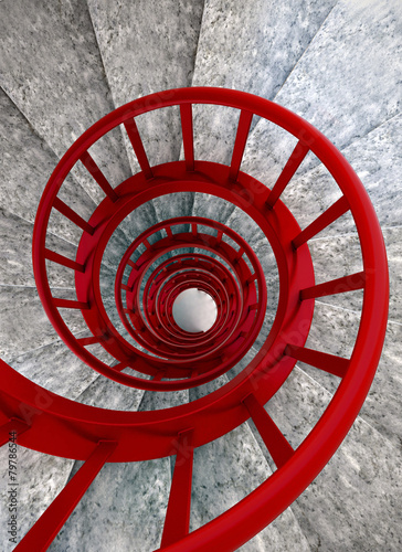 Spiral stairs with red balustrade - 79786544