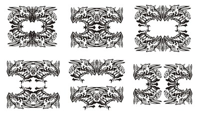 Tribal dragon symbols. Black on the white