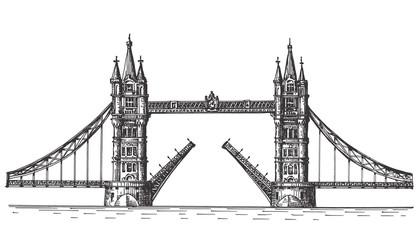 London, England, the bridge on white background
