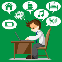 Cartoon vector of tired office worker with icon