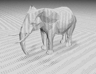 3d elephant with numbers texture.