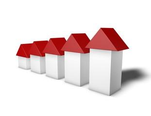 Housing market grow up, illustration isolated on white.