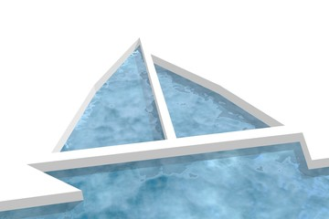 unusual water sail boat icon in ice plane