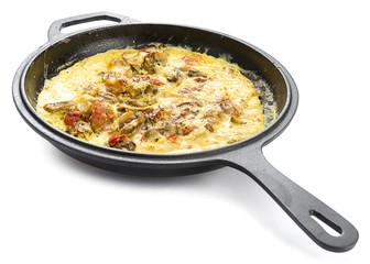 Mushroom Omlette in Iron Pan