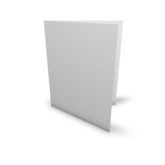 Blank greeting card standing on floor, isolated on white.