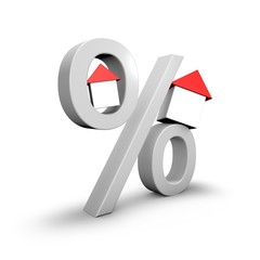 Mortgage loan concept with percent symbol and small 3d houses.