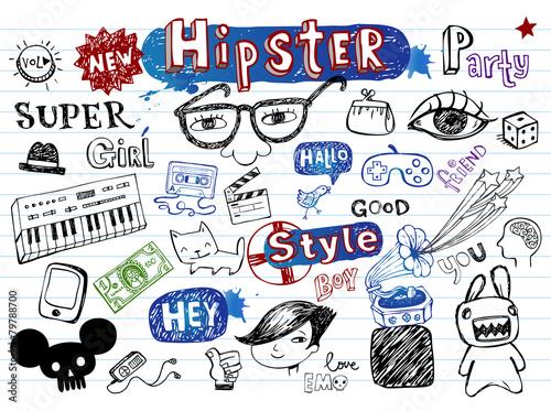 Hipsters doodle set - 79788700
