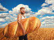 Man holding a huge bread on field of wheat