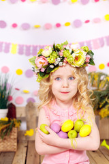 happy girl with easter eggs, smiling, easter decor
