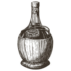 bottle of wine on a white background. sketch