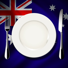 White plate with knife and fork on Australia flag background