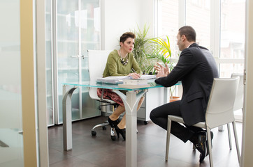 Business partners working in office