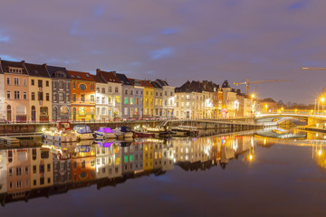 Gent. River Leie at night.