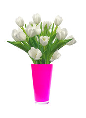 Bouquet of white tulips in pink vase isolated on white backgroun