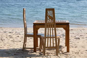 Table and chairs with a beautiful sea view, Thailand.