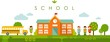 Seamless panoramic background with school building in flat style - 79790501