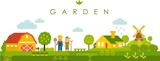 Fototapety Farm garden panoramic landscape background in flat style