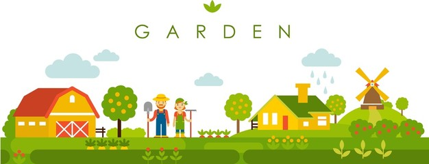 Farm garden panoramic landscape background in flat style