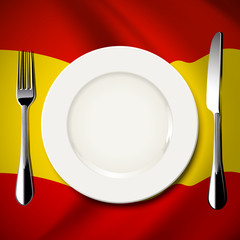 Vector  White plate with knife and fork on Spain flag background