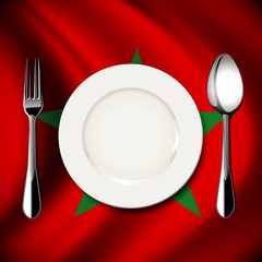 White plate with knife and fork on Morocco flag background