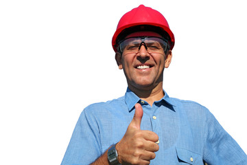 Electrical Utility Worker Over White Background