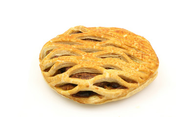 fresh meat pie on a white background