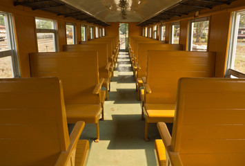 Wooden benches of tradition Bogie Third Class Carriage train