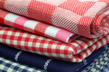 red and blue checkered kitchen towels